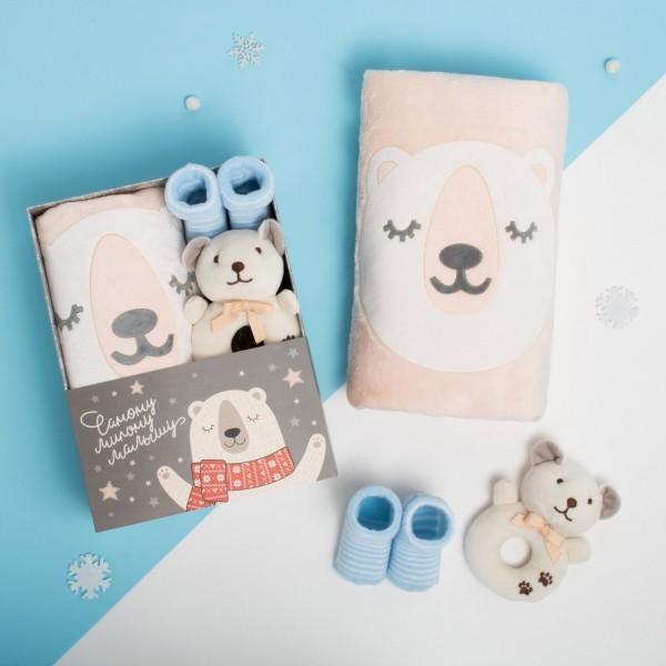 Плед, игрушка и носочки lollybox newborn SNUG boy