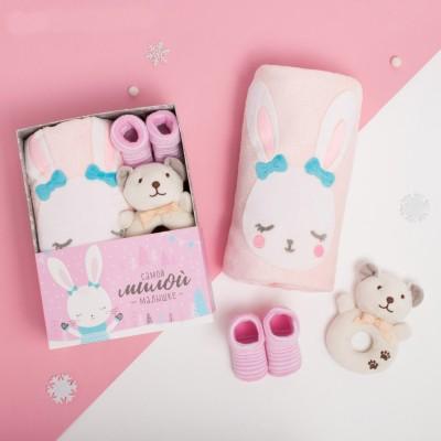 Плед, игрушка и носочки lollybox newborn SNUG girl